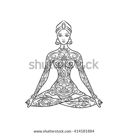 Yoga Lotus Position Meditation Zentangle Hand Drawn Background