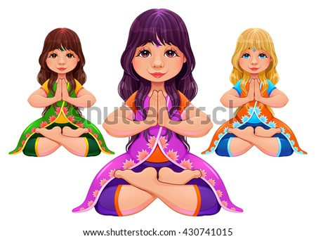 Yoga Lotus position. Vector isolated characters.  - stock vector