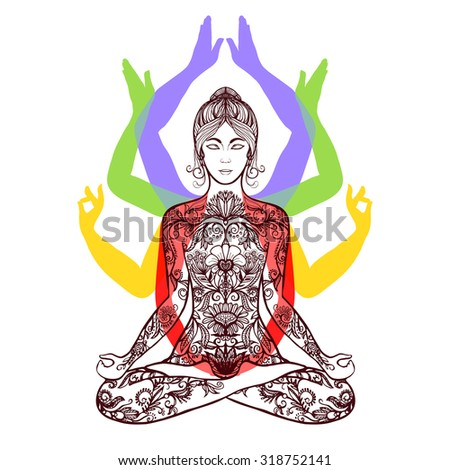 Yoga meditating woman in lotus asana with 4 mudras poses spiritual lifestyle center poster abstract vector illustration - stock vector