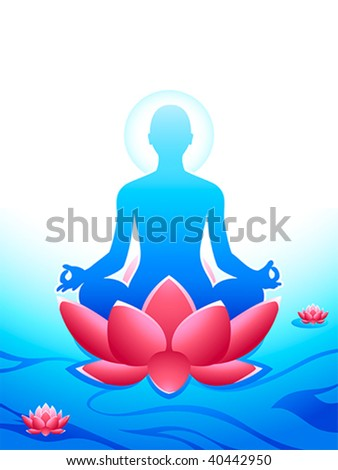 Yoga meditation at the sacred lotus sea of heaven - stock vector