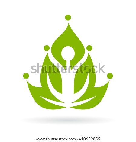 Yoga meditation logo vector illustration isolated on white background - stock vector