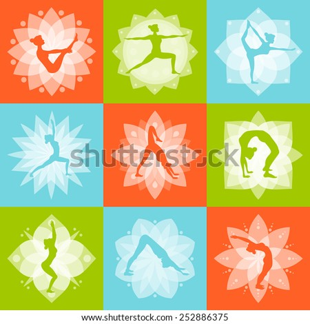 Yoga mind body and health fitness design concept set isolated vector illustration - stock vector
