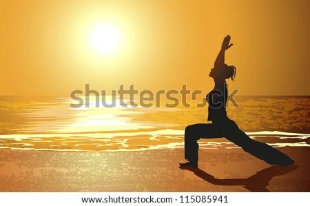 Yoga on a beach - stock vector