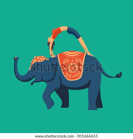 Yoga on an elephant. Young woman doing yoga standing on the back of an elephant. Flat style illustration. - stock vector