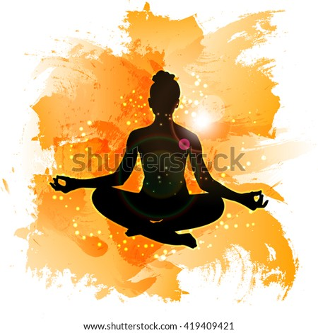 Yoga on watercolor background. The meditative state of man's soul. Vector glowing background.