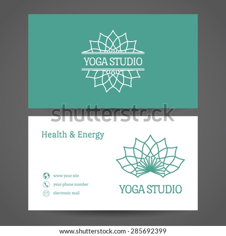 Yoga ornamental business card. Vector editable template include front and back side for relax or spa center, yoga studio, healthcare and traditional medicine - stock vector