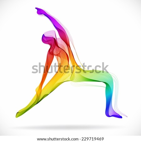 Yoga pose, Abstract color illustration over white background, Vector - stock vector