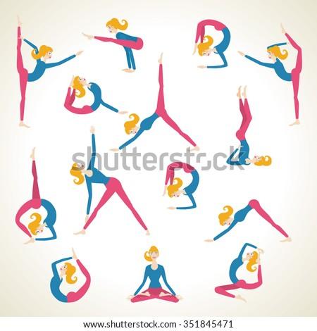 Yoga pose asana set vector background template woman girl cartoon. Yoga poses character cartoon. Yoga pose girl template - stock vector