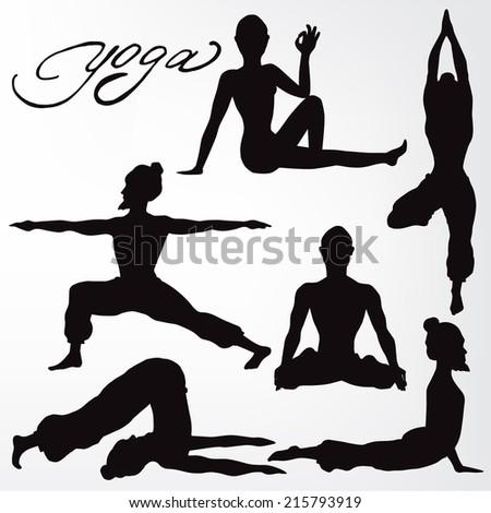 yoga pose. silhouette. asanas. - stock vector
