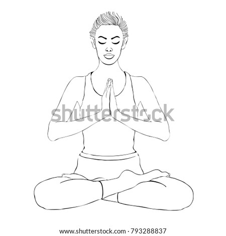 Yoga Pose Woman Meditating In A Lotus Vector Coloring Drawing Portrait Meditation