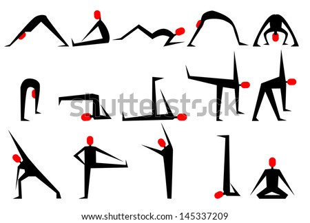Yoga poses - stock vector