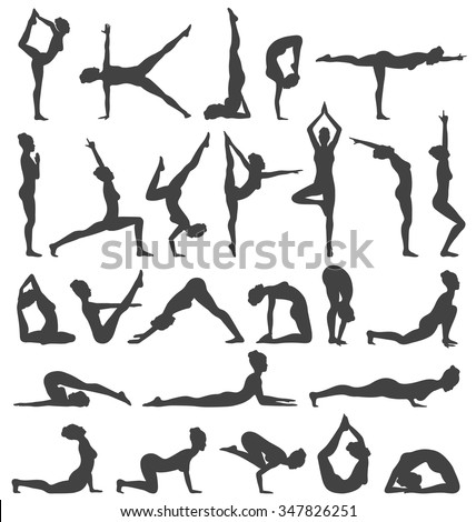 Yoga Poses Collection Set Black Icons Isolated on White Background - stock vector