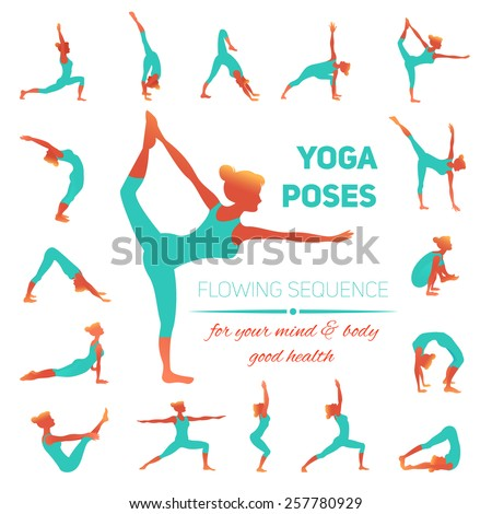 Yoga poses icons set with women figures doing physical workout isolated vector illustration - stock vector