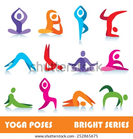 Yoga poses logo abstract people vector icons, part 1, bright series - stock vector