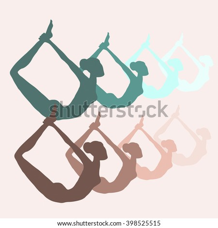Yoga poses pattern - stock vector