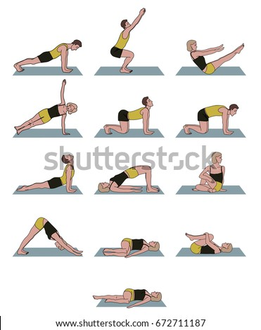 Yoga Poses Set With Men And Women Simple Beginner
