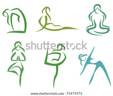 Yoga poses  symbols set in simple lines stylized vector illustration part 2