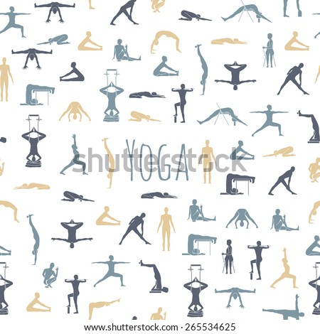 Yoga poses with props in vector. Seamless pattern - stock vector