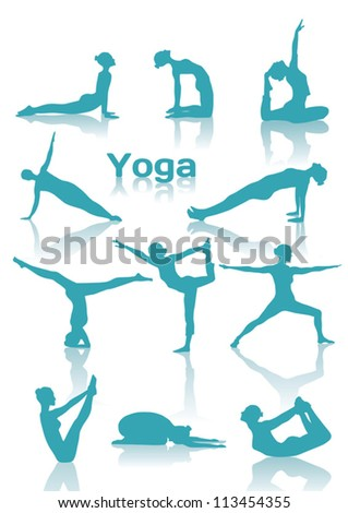 Yoga positions green silhouettes - stock vector