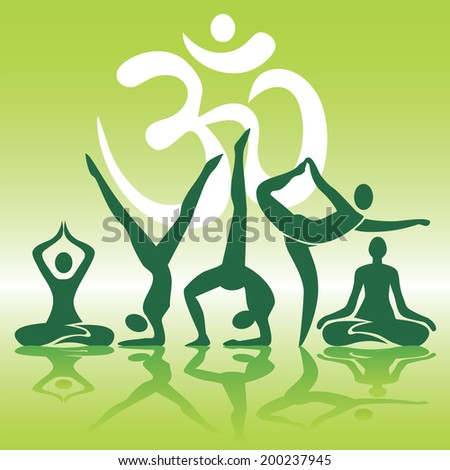 Yoga positions silhouettes on green background. Human silhouettes with Yoga positions on green background with shadow. Vector illustration.  - stock vector