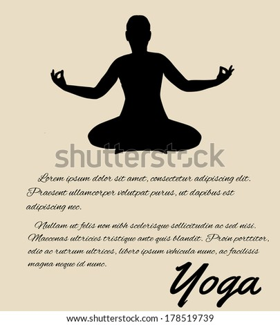 Yoga poster in retro style background, vector illustration - stock vector