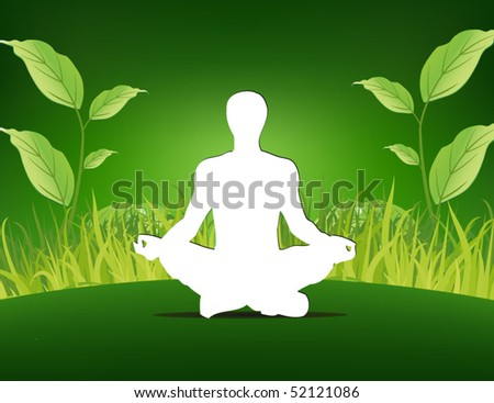 yoga poster - man sitting on the grass background - stock vector