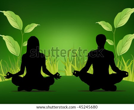 yoga poster - people sitting on the grass background - stock vector