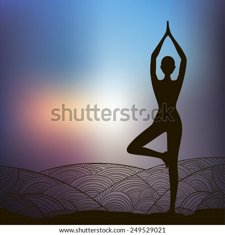 yoga postures - stock vector