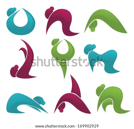Yoga practice and other woman exercise vector collection of signs and