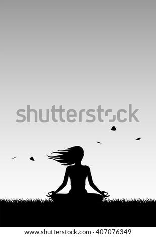 Yoga Silhouette - stock vector