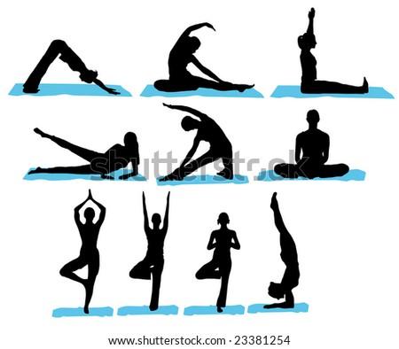 Yoga Silhouettes - stock vector