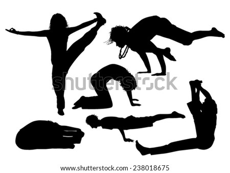Yoga Silhouettes - stock vector