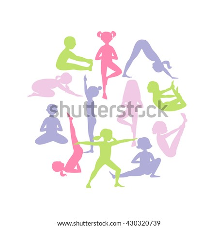 Yoga silhouettes. Yoga postures in the circle. Cartoon characters. Children performing asanas.