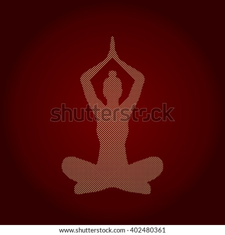 Yoga Sitting pose designed using dots pattern graphic vector. - stock vector