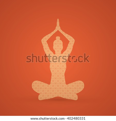 Yoga Sitting pose designed using gold geometric pattern graphic vector. - stock vector