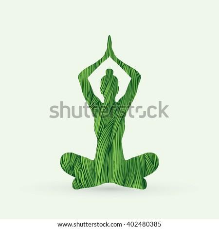 Yoga Sitting pose designed using green grunge brush graphic vector. - stock vector