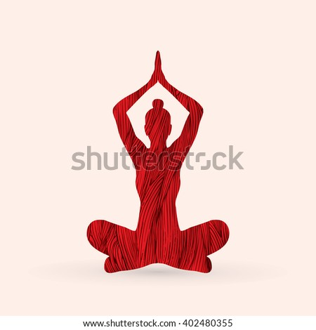 Yoga Sitting pose designed using red grunge brush graphic vector. - stock vector