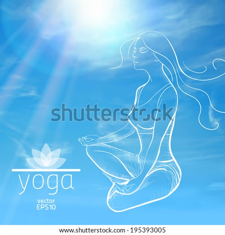 Yoga. Sketch of girl in lotus position on a background of sky and clouds - stock vector