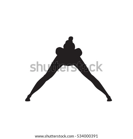 Yoga Sport Fitness Woman Exercise Workout Silhouettes Girl Isolated Over White Background Vector Illustration
