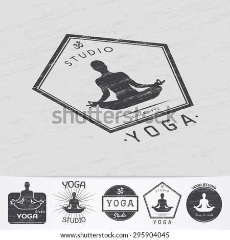 Yoga studio, fitness and meditation class. Health and beauty. Sports and self-development. Old retro vintage grunge. Monochrome typographic labels, stickers, logos and badges. Flat vector illustration - stock vector
