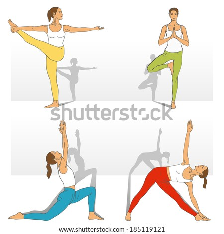Yoga Studio. Yoga class. Set of yoga poses (girl in red, blue, yellow, green and white clothes). Vector yoga illustration. Women in recreation activities. Healthy lifestyle with yoga exercises. - stock vector
