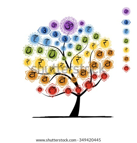 Yoga tree with chakras, sketch foy your design. Vector illustration - stock vector