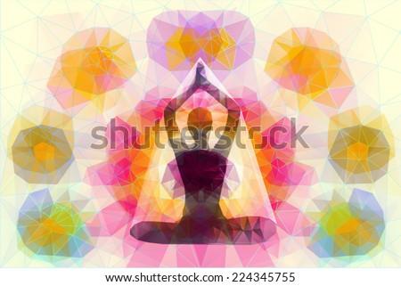 yoga vector flyer - stock vector