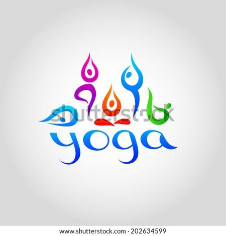 Yoga. Vector logo template for schools of yoga. - stock vector