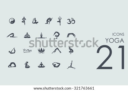 yoga vector set of modern simple icons - stock vector