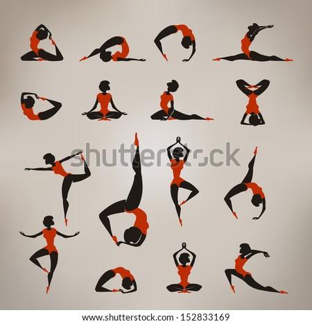 Yoga. Vintage icons - stock vector
