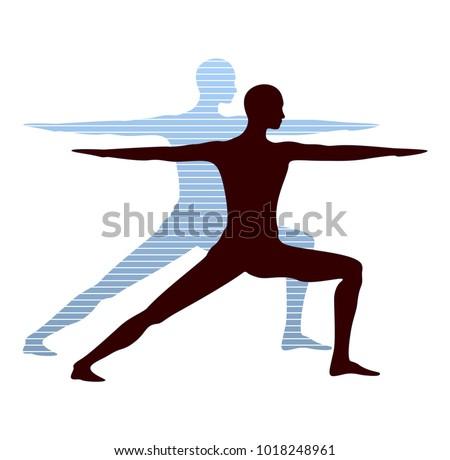 Yoga Warrior Pose Silhouette Vector Illustration