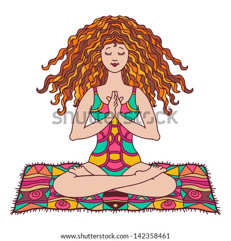 Yoga woman color isolated - vector - stock vector