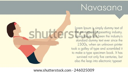 Yoga woman - navasana pose. Vector illustration