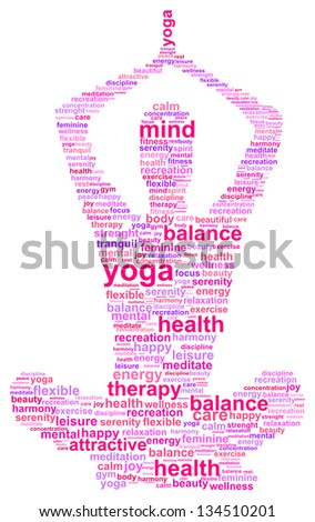 Yoga Woman Silhouette Word Cloud Concept - stock vector